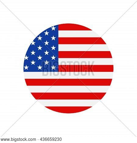 American Flag. Circle Icon Of Usa Patriot With Star And Stripe. Emblem For Proud Of United States Of