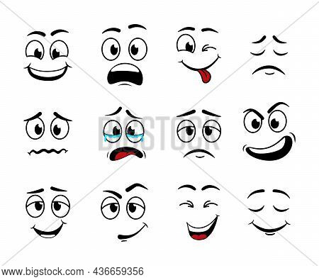 Cartoon Face. Expression Of Eye And Mouth. Smile And Sad Character. Set Of Funny, Cute, Angry, Confu