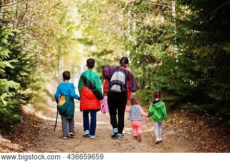 Back Of Mother With Four Kids Walking On Wood Mountains. Family Travel And Hiking With Childrens. We