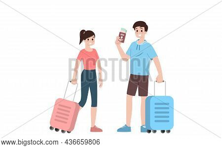 Group Of Young Tourist Characters. Traveling Tourists With Travel Luggage Going On Vacation Trip Aft