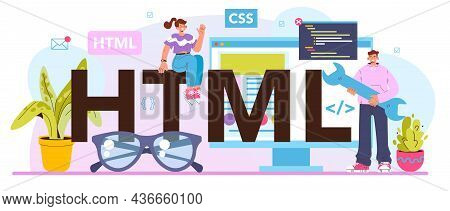 Html Typographic Header. Website Development Process. Digital
