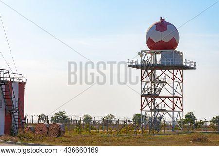 Aeronautical Meteorological Station Tower With Spherical Radar At Airport