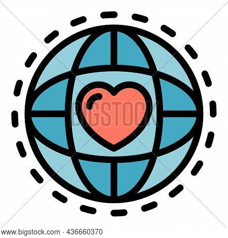 Global Friendship Icon. Outline Global Friendship Vector Icon Color Flat Isolated