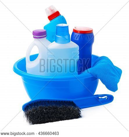 Cleaning Items In A Blue Basin Isolated On White Background