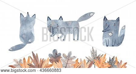 Watercolor set of cute wolf cubs. Fallen foliage for your design.