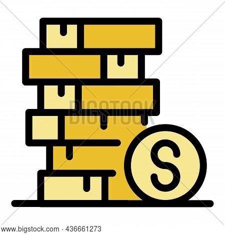 Coins Dollar Stack Icon. Outline Coins Dollar Stack Vector Icon Color Flat Isolated