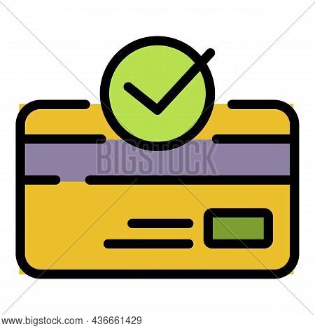 Approved Credit Card Icon. Outline Approved Credit Card Vector Icon Color Flat Isolated
