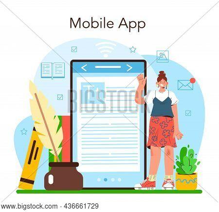 Publisher Online Service Or Platform. Editor Working On Book