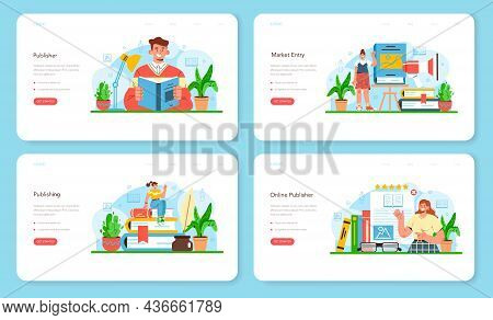 Publisher Web Banner Or Landing Page Set. Editor Working On Book