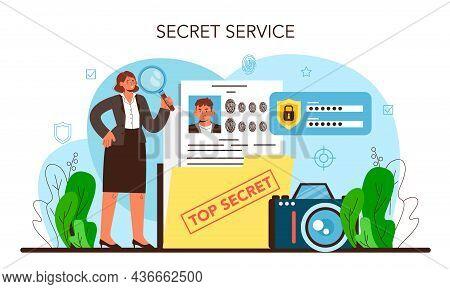 Spy. Secret Agent Or Fbi Investigating Crime. Protection Of Espionage