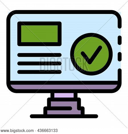 Computer Biometric Authentication Icon. Outline Computer Biometric Authentication Vector Icon Color