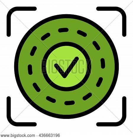Approved Authentication Icon. Outline Approved Authentication Vector Icon Color Flat Isolated