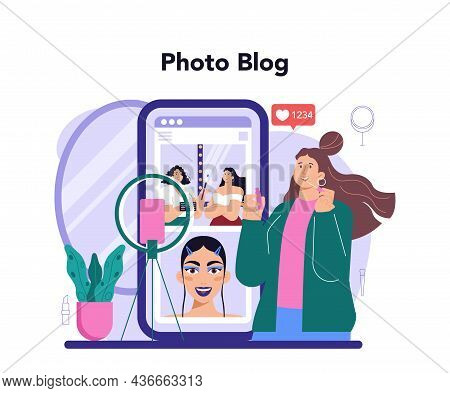 Beauty Blogger Online Service Or Platform. Video Blogger Doing