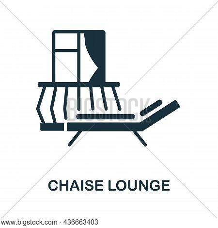 Chaise Lounge Icon. Monochrome Sign From Balcony Collection. Creative Chaise Lounge Icon Illustratio
