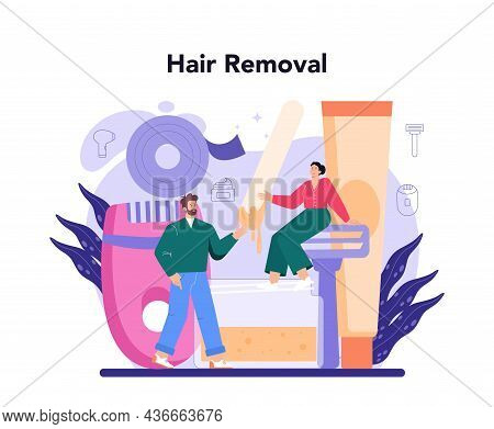 Depilation And Epilation Concept. Hair Removal Methods. Idea Of Body