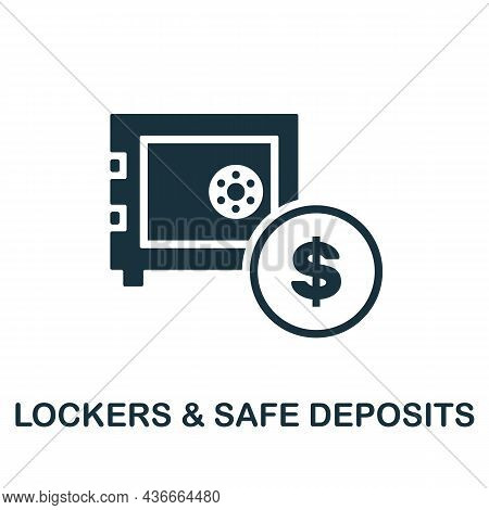 Lockers Safe Deposits Icon. Monochrome Sign From Banking Operations Collection. Creative Lockers Saf