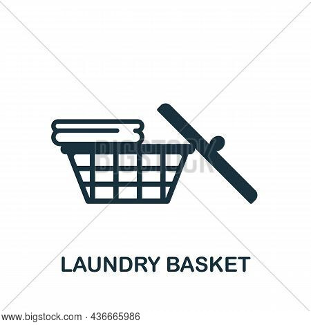 Laundry Basket Icon. Monochrome Sign From Bathroom Collection. Creative Laundry Basket Icon Illustra
