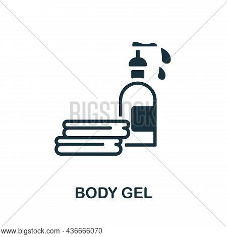 Body Gel Icon. Monochrome Sign From Bathroom Collection. Creative Body Gel Icon Illustration For Web