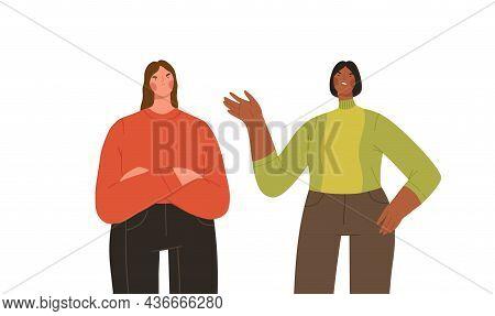 Two Women Arguing. Concept Of Friends Quarrel, Conflict And Misunderstanding. Cartoon Flat Vector Il