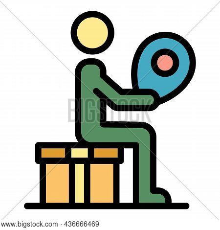 Man Relocation Icon. Outline Man Relocation Vector Icon Color Flat Isolated