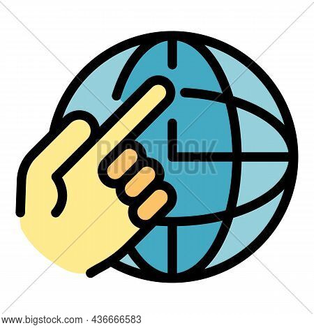Global Relocation Icon. Outline Global Relocation Vector Icon Color Flat Isolated