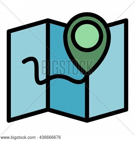 Relocation Map Icon. Outline Relocation Map Vector Icon Color Flat Isolated