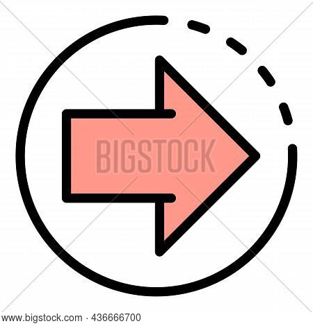 Relocation Arrow Icon. Outline Relocation Arrow Vector Icon Color Flat Isolated