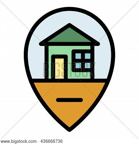 House Location Icon. Outline House Location Vector Icon Color Flat Isolated