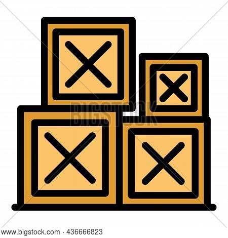 Parcel Relocation Box Icon. Outline Parcel Relocation Box Vector Icon Color Flat Isolated