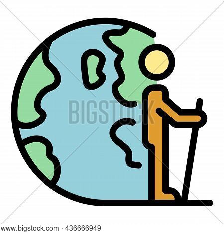 Man Walking Relocation Icon. Outline Man Walking Relocation Vector Icon Color Flat Isolated