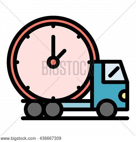 Fast Truck Shipping Icon. Outline Fast Truck Shipping Vector Icon Color Flat Isolated