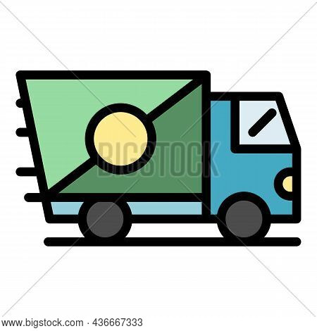 Fast Truck Delivery Icon. Outline Fast Truck Delivery Vector Icon Color Flat Isolated