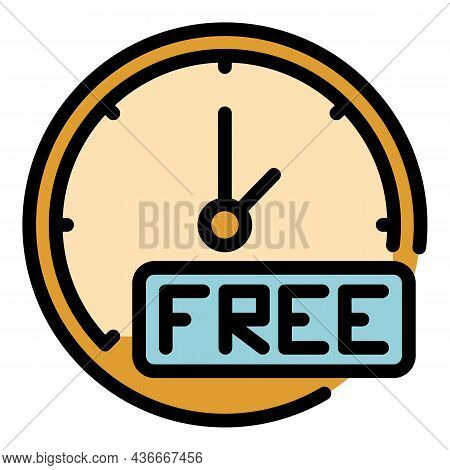 Free Time Delivery Parcel Icon. Outline Free Time Delivery Parcel Vector Icon Color Flat Isolated