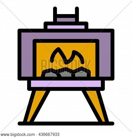 Outdoor Fireplace Icon. Outline Outdoor Fireplace Vector Icon Color Flat Isolated