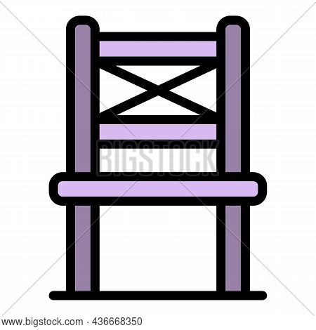 Folding Chair In Front Icon. Outline Folding Chair In Front Vector Icon Color Flat Isolated