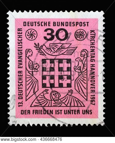 ZAGREB, CROATIA - JUNE 27, 2014: Stamp printed in Germany devoted to 13th German Evangelical Churches Day, circa 1967