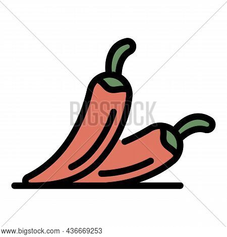 Chilli Peppers Icon. Outline Chilli Peppers Vector Icon Color Flat Isolated