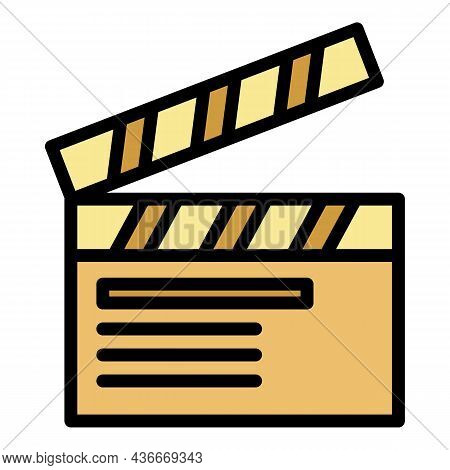 Tv Show Clapper Icon. Outline Tv Show Clapper Vector Icon Color Flat Isolated