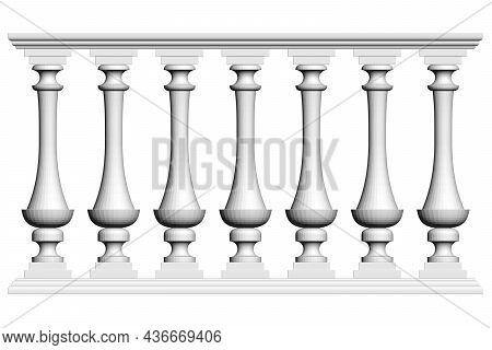 Decorative Fence Isolated On A White Background. Part Of The Railing. 3d. Vector Illustration