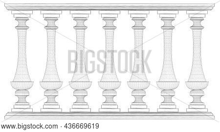 Wireframe Decorative Fence Isolated On White Background. Part Of The Railing. 3d. Vector Illustratio