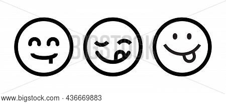 Yummy Smile Emoticon With Tongue Lick Mouth Icon. Tasty Food Eating Emoji Face. Delicious Cartoon Wi