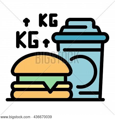 Fast Food Weight Up Icon. Outline Fast Food Weight Up Vector Icon Color Flat Isolated