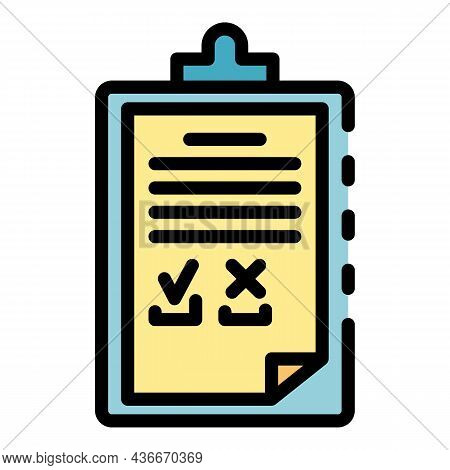 Hospital Clipboard Icon. Outline Hospital Clipboard Vector Icon Color Flat Isolated
