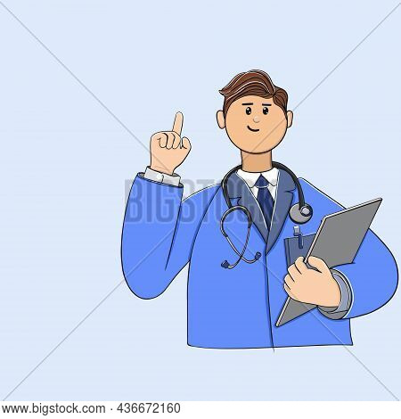 Doctor Man With A Stethoscope And In A Work Coat With A Raised Finger Up Attention In A Standing Pos