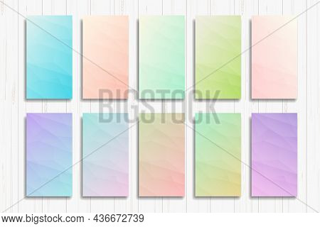 Vibrant And Soft Pastel Gradient Smooth Color Background Set For Modern Smartphone Screen. Abstarct