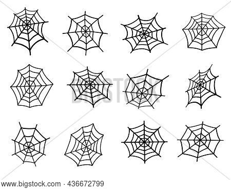 Spider Web Set. Web For Halloween, A Scary, Ghostly, Spooky Element For Design On Halloween. Vector