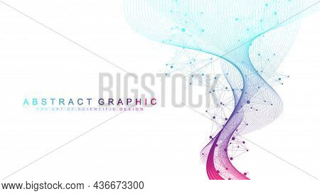 Digits Abstract Background With Connected Line And Dots, Wave Flow. Digital Neural Networks. Network