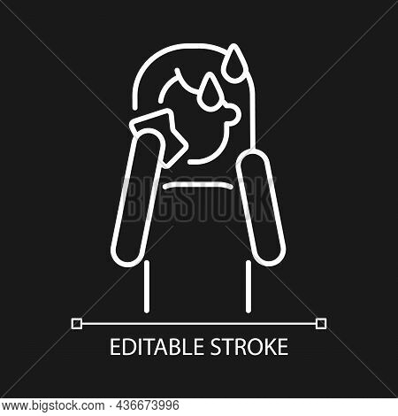 Hot Flashes And Sweating White Linear Icon For Dark Theme. Panic Attack Symptom. Mental Disorder. Th