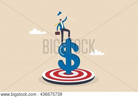Achieve Financial Goal, Success Investment Or Make Money Target, Win Wealth And Savings Objective Or