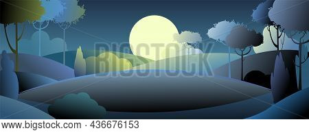 Silhouette Night Landscape. Big Moon. Moonlight. Darkness. Cartoon Style. Hills With Grass And Trees